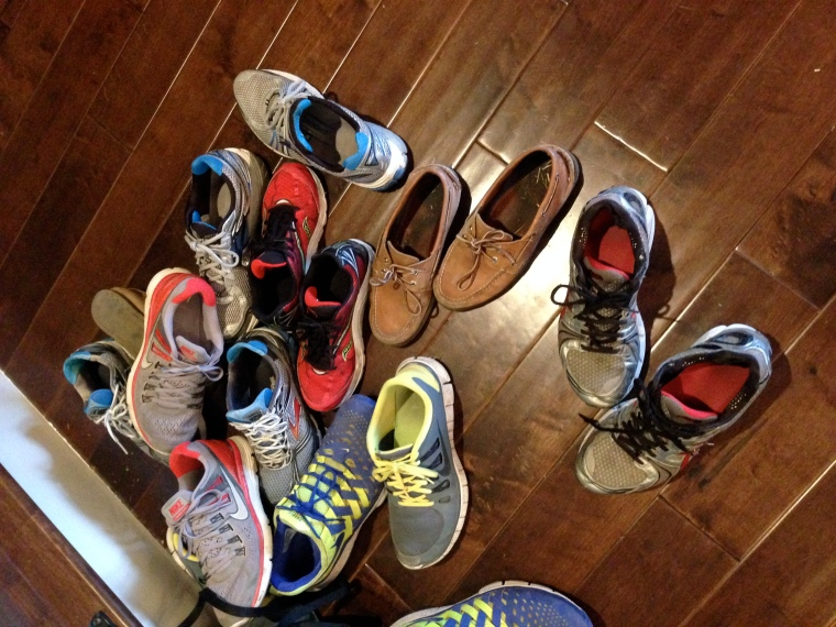 Ordinary shoes, but I knew the boys they belong to when they were wee little men. And now, they are big boys with yeti feet, and they were all upstairs, at the same time. Good thing we have extra reinforcements in the game room floor, enough to hold a pool table, or this many boys.