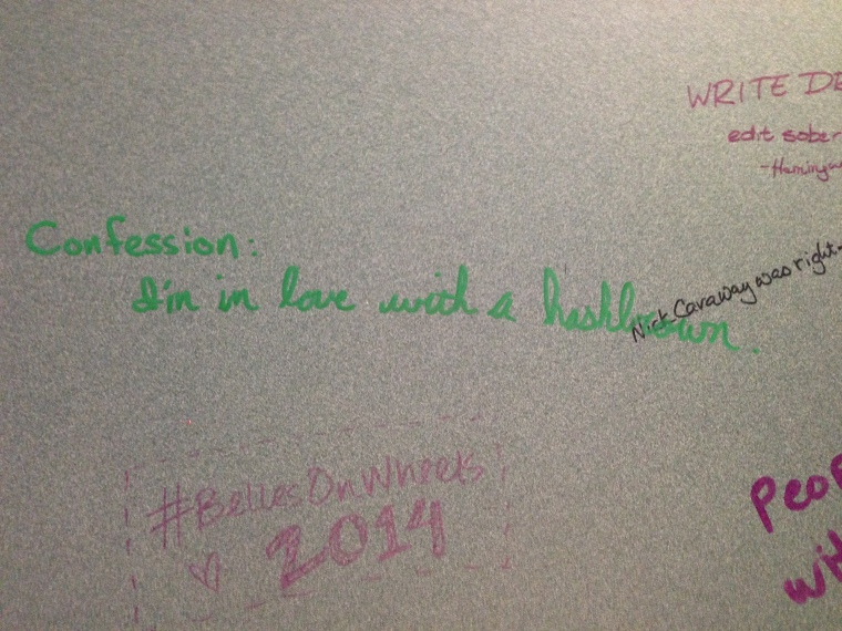 Graffiti on the bathroom wall at Bookpeople.